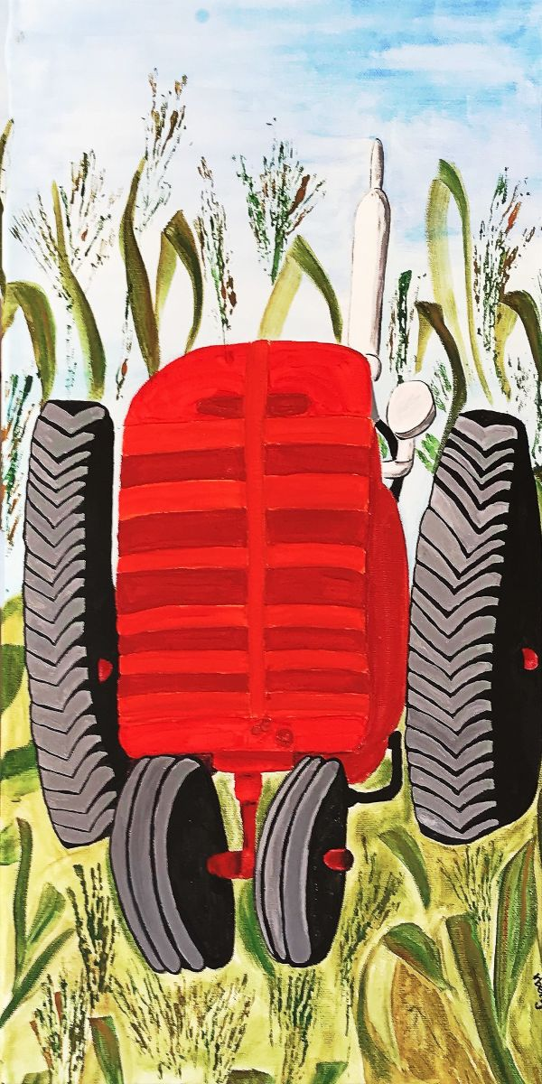 Land of the Tractor by Roxanne Berg Bonde (Acrylic)