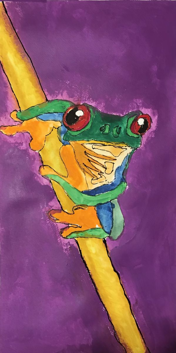Frog on a Reed by Layton Smith (Gouche)