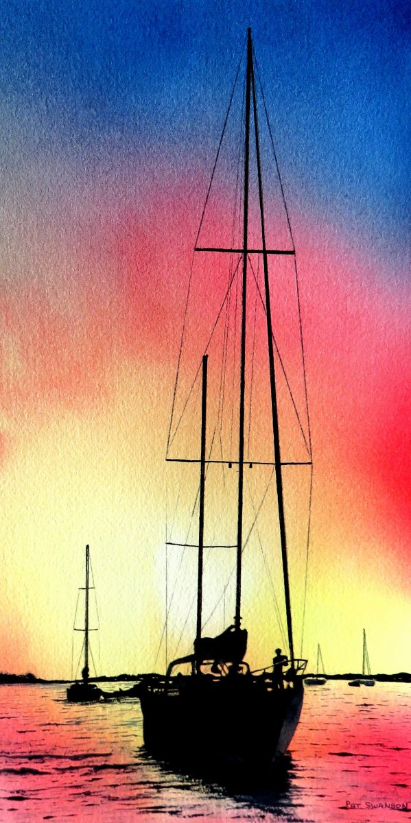 Sunset Sail by Pat Swanson (Watercolor)